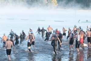 Note the fog bank in front of the swim start