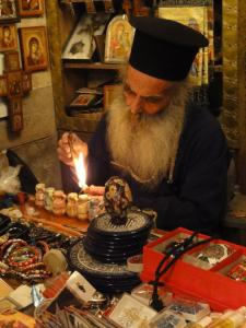 Priest at holy place in Israel
